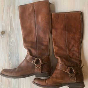 Frye Phillip Harness Tall Boot Rugged Leather 8